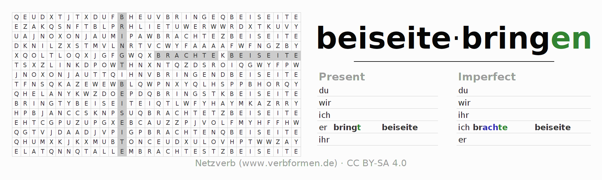 Word search puzzle for the conjugation of the verb beiseitebringen