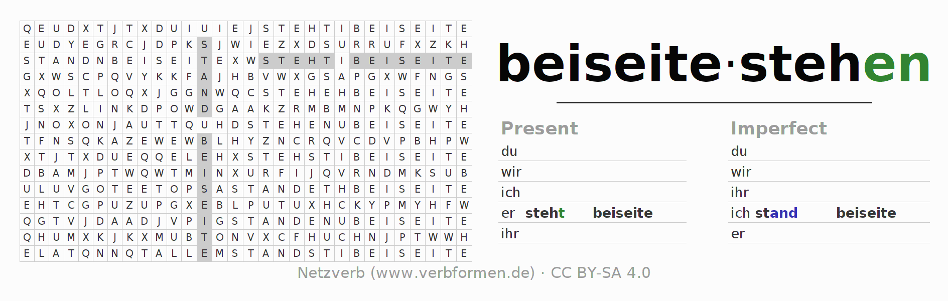 Word search puzzle for the conjugation of the verb beiseitestehen (hat)