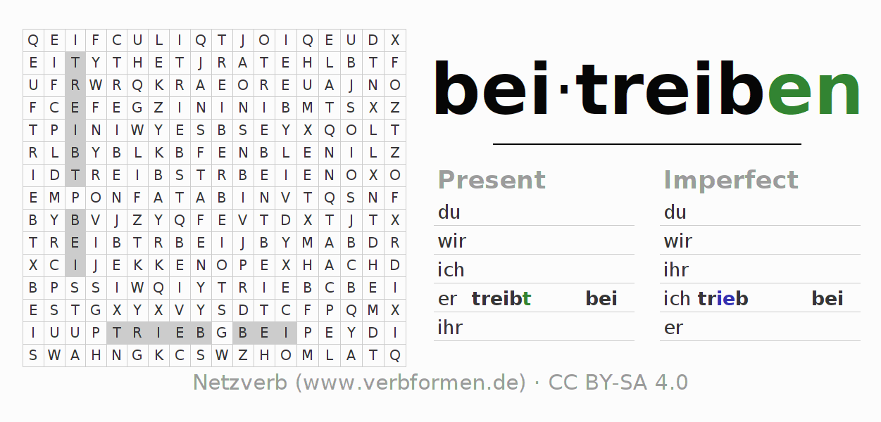 Word search puzzle for the conjugation of the verb beitreiben