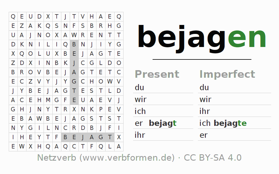 Word search puzzle for the conjugation of the verb bejagen