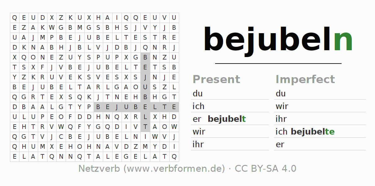 Word search puzzle for the conjugation of the verb bejubeln