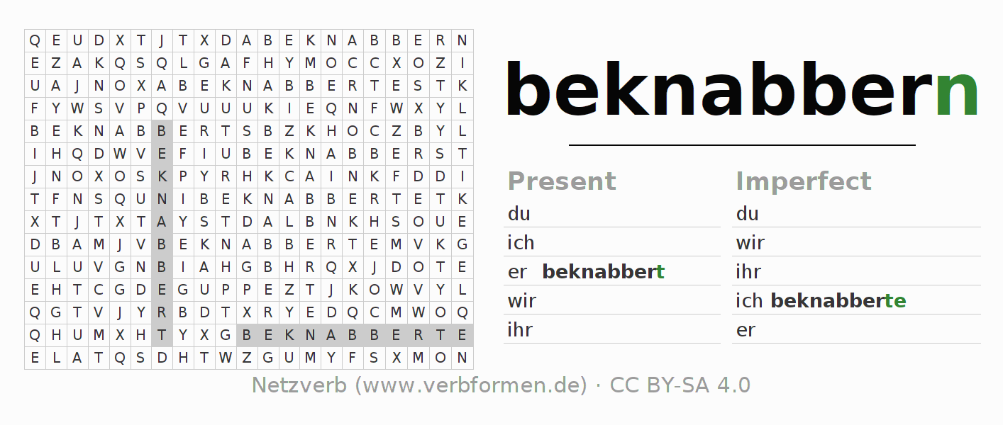 Word search puzzle for the conjugation of the verb beknabbern