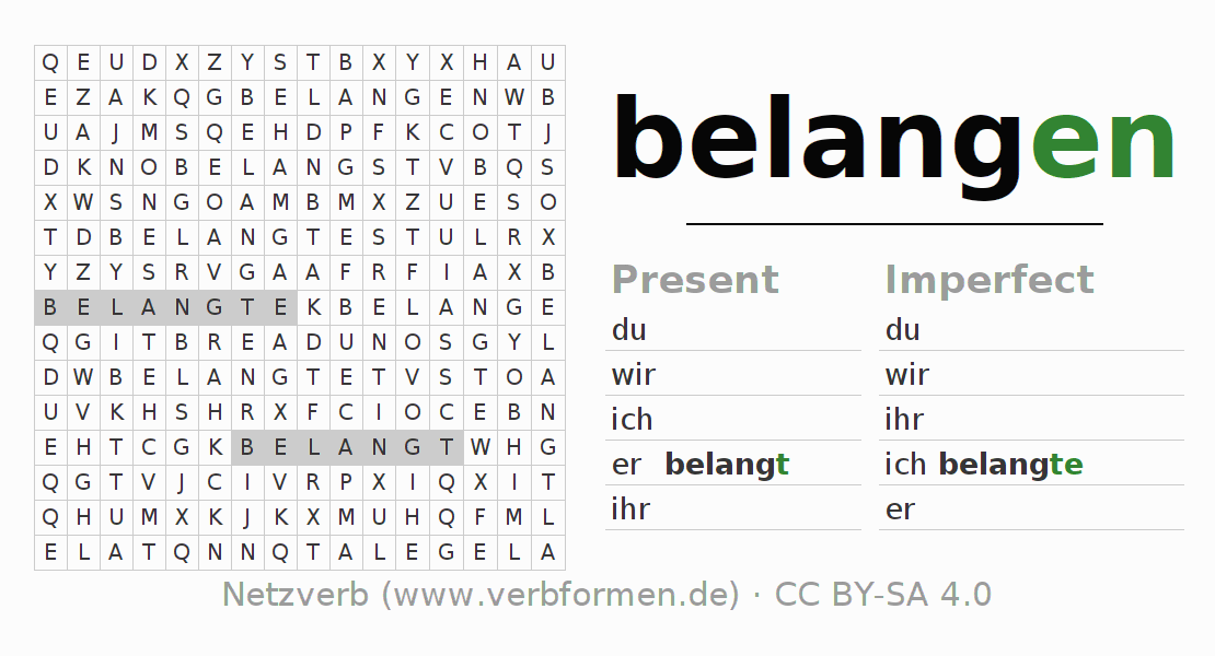 Word search puzzle for the conjugation of the verb belangen