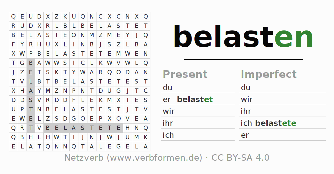 Word search puzzle for the conjugation of the verb belasten