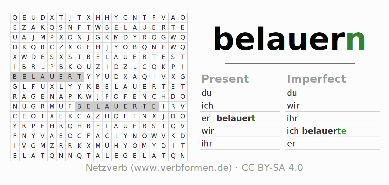 Word search puzzle for the conjugation of the verb belauern