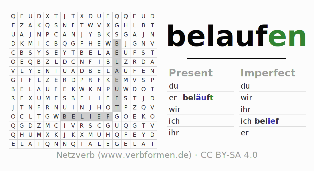 Word search puzzle for the conjugation of the verb belaufen (hat)