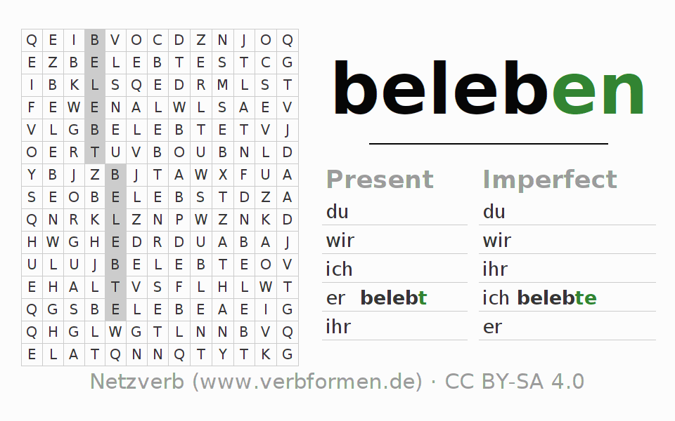 Word search puzzle for the conjugation of the verb beleben