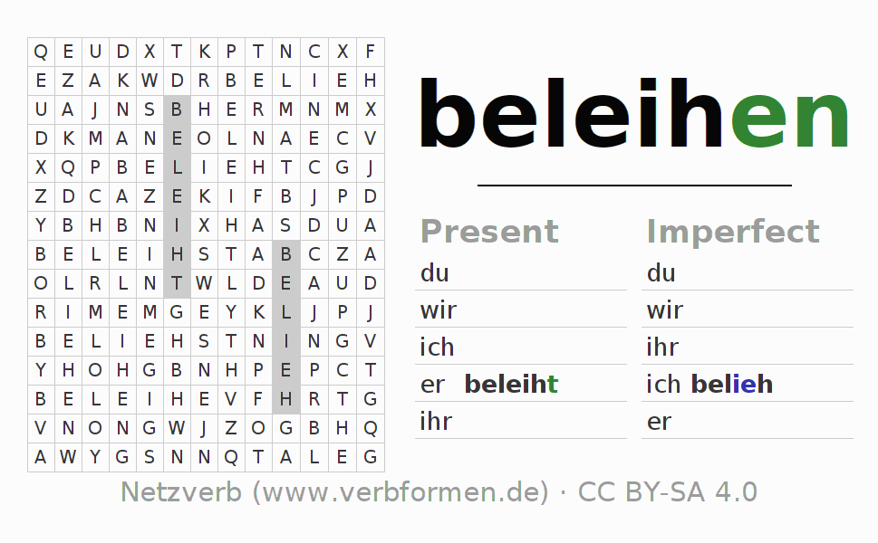 Word search puzzle for the conjugation of the verb beleihen