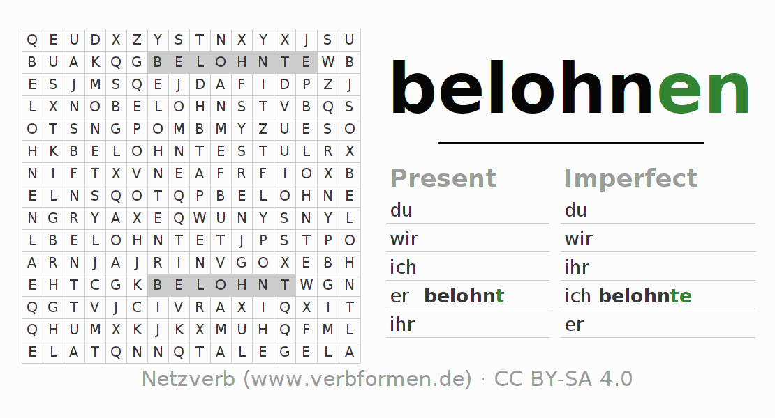 Word search puzzle for the conjugation of the verb belohnen