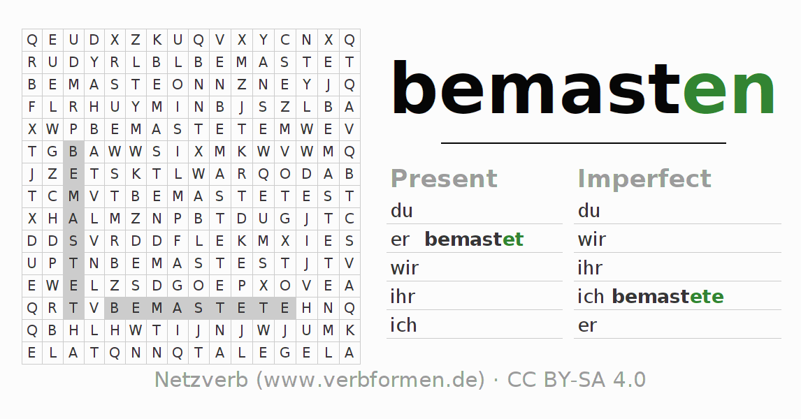 Word search puzzle for the conjugation of the verb bemasten