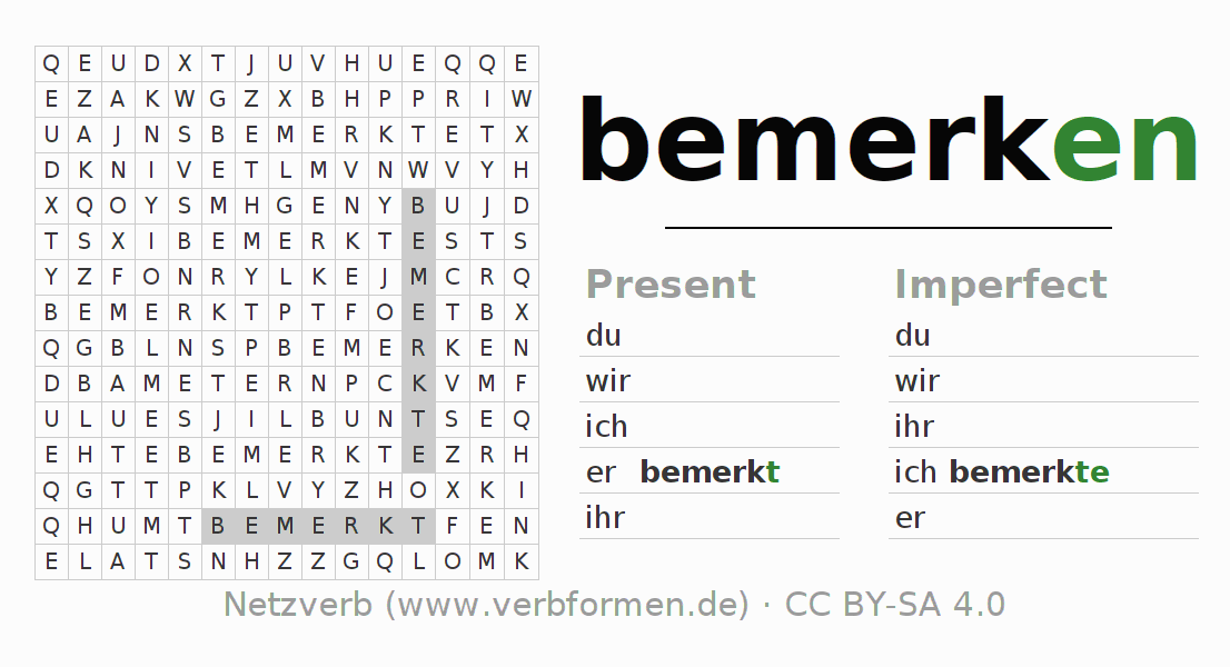 Word search puzzle for the conjugation of the verb bemerken