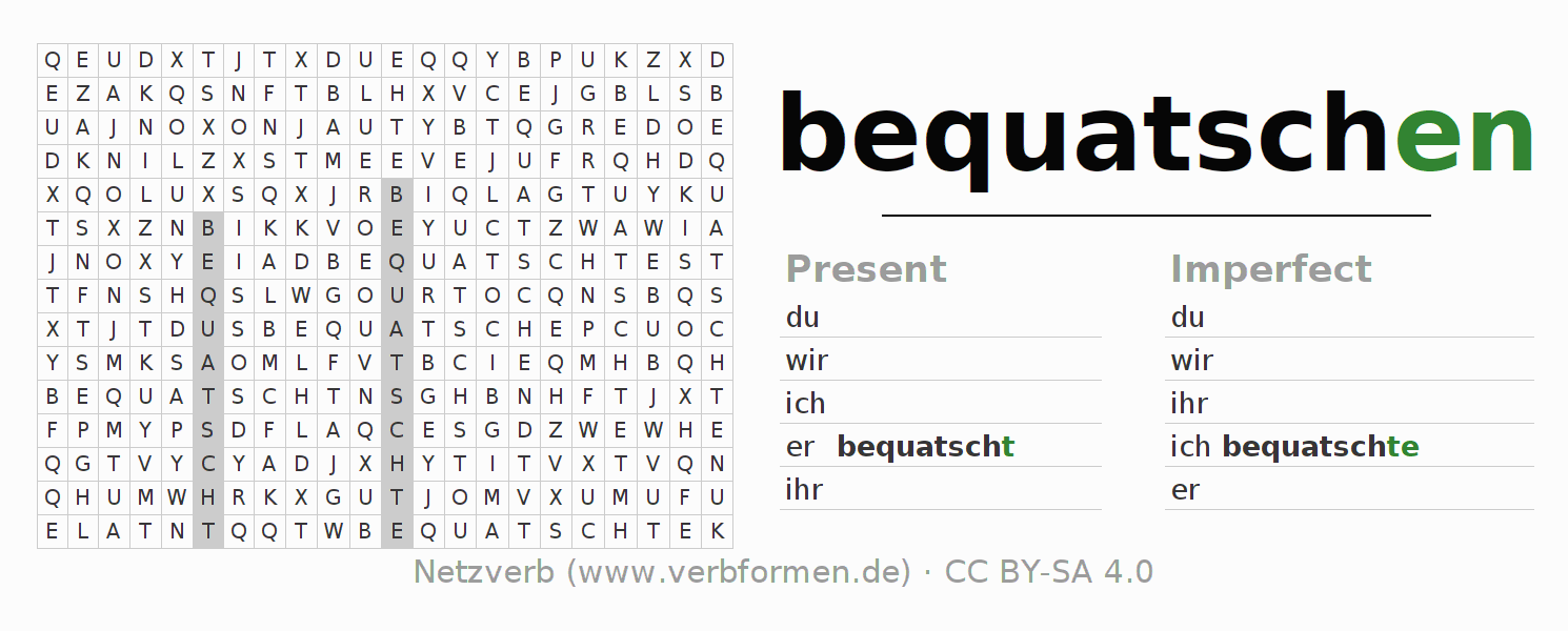 Word search puzzle for the conjugation of the verb bequatschen