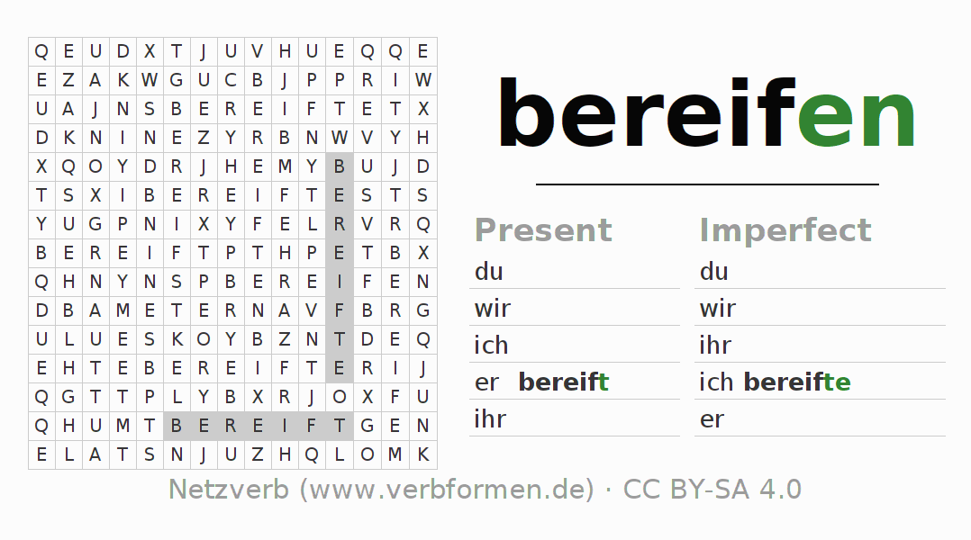 Word search puzzle for the conjugation of the verb bereifen