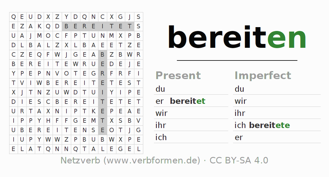 Word search puzzle for the conjugation of the verb bereiten (regelm)
