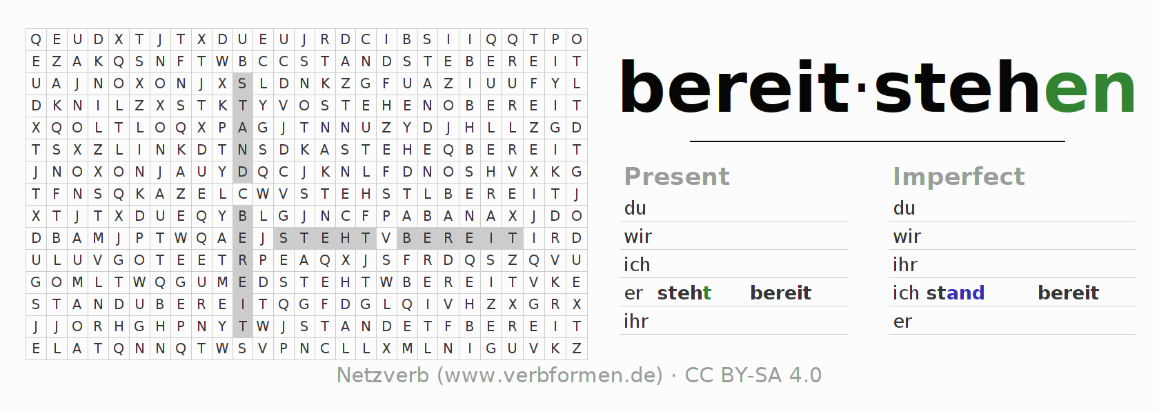 Word search puzzle for the conjugation of the verb bereitstehen (hat)