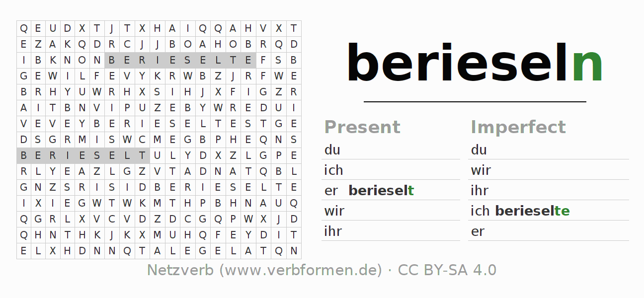 Word search puzzle for the conjugation of the verb berieseln