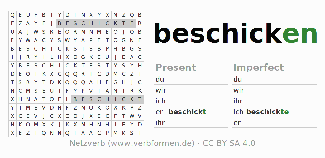 Word search puzzle for the conjugation of the verb beschicken
