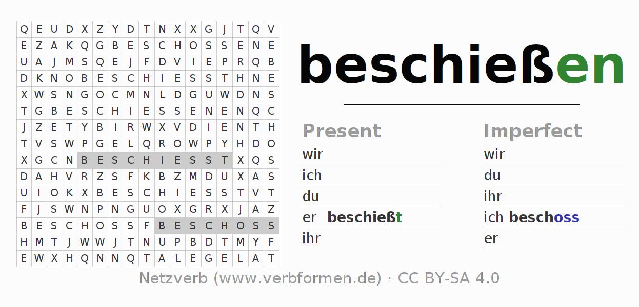 Worksheets | Verb beschießen | Exercises for conjugation of German ...