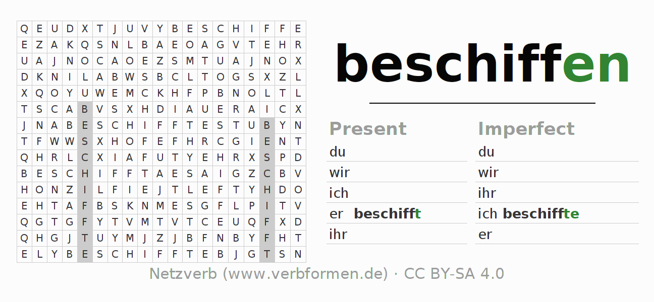 Word search puzzle for the conjugation of the verb beschiffen