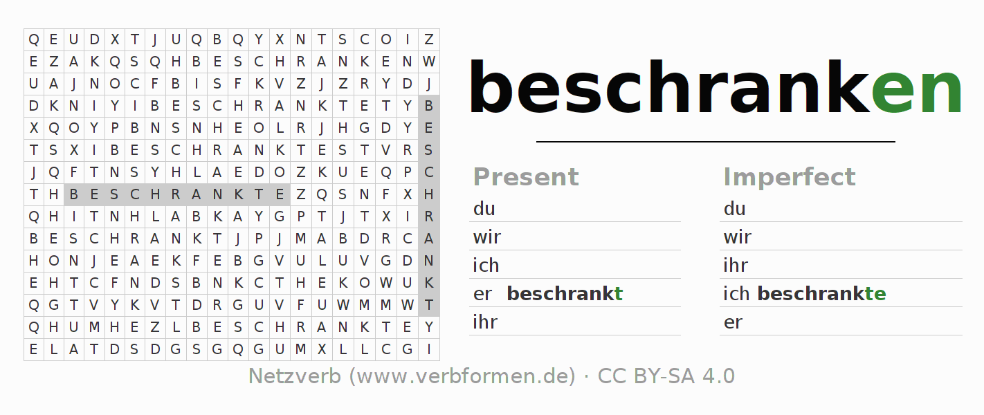 Word search puzzle for the conjugation of the verb beschranken