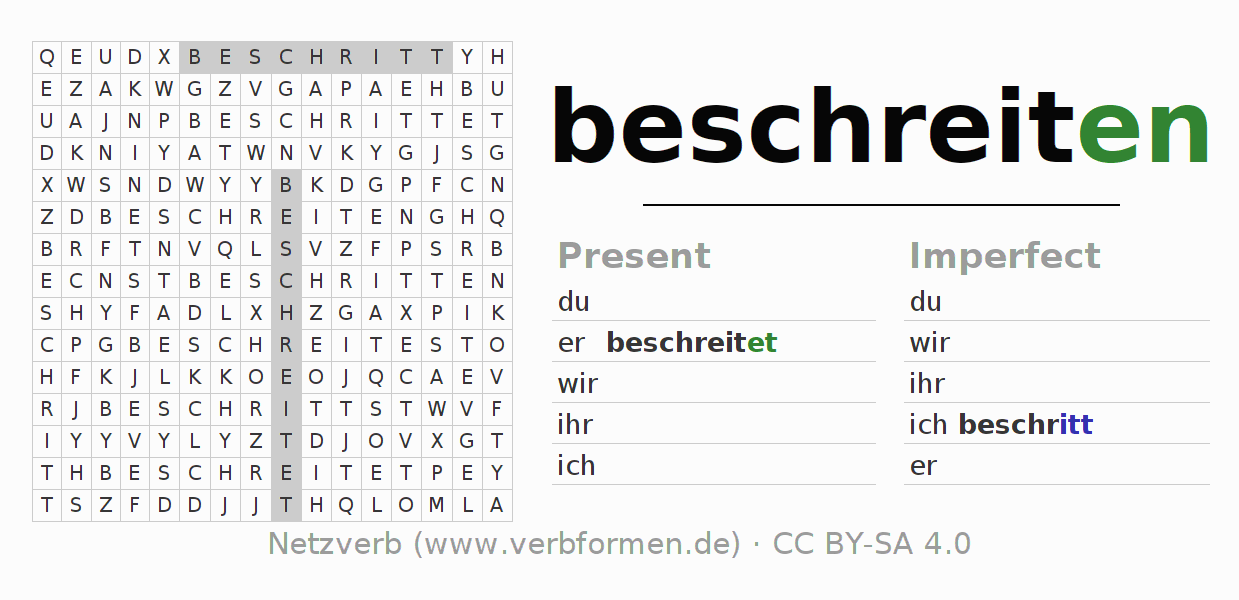 Word search puzzle for the conjugation of the verb beschreiten
