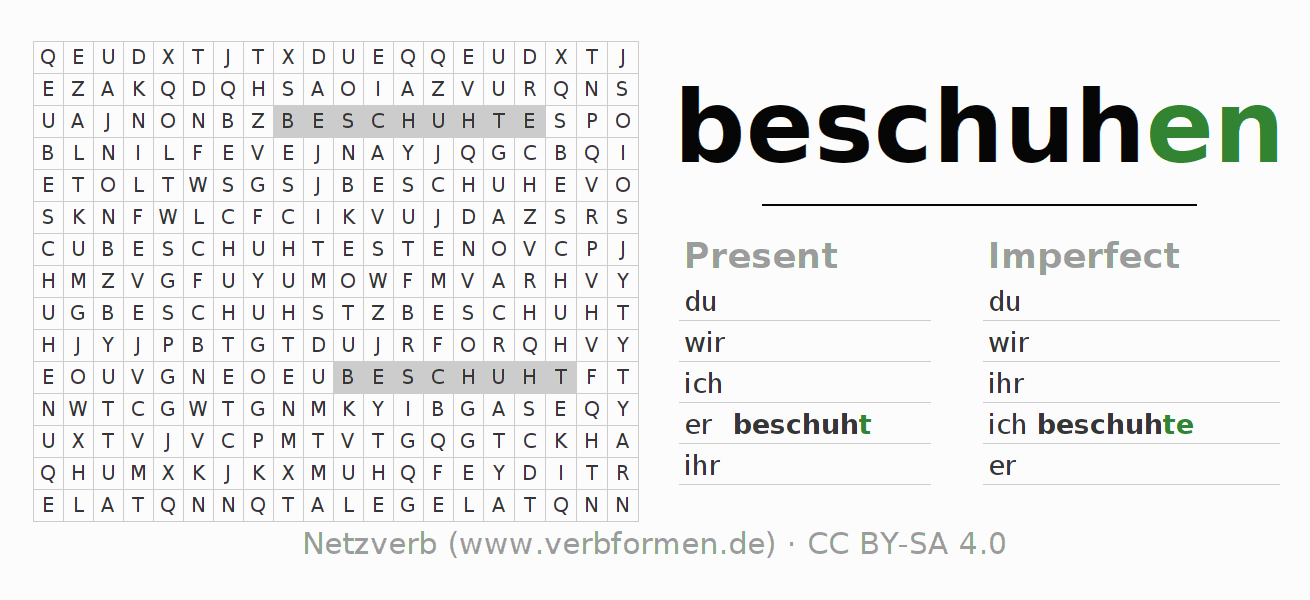 Word search puzzle for the conjugation of the verb beschuhen