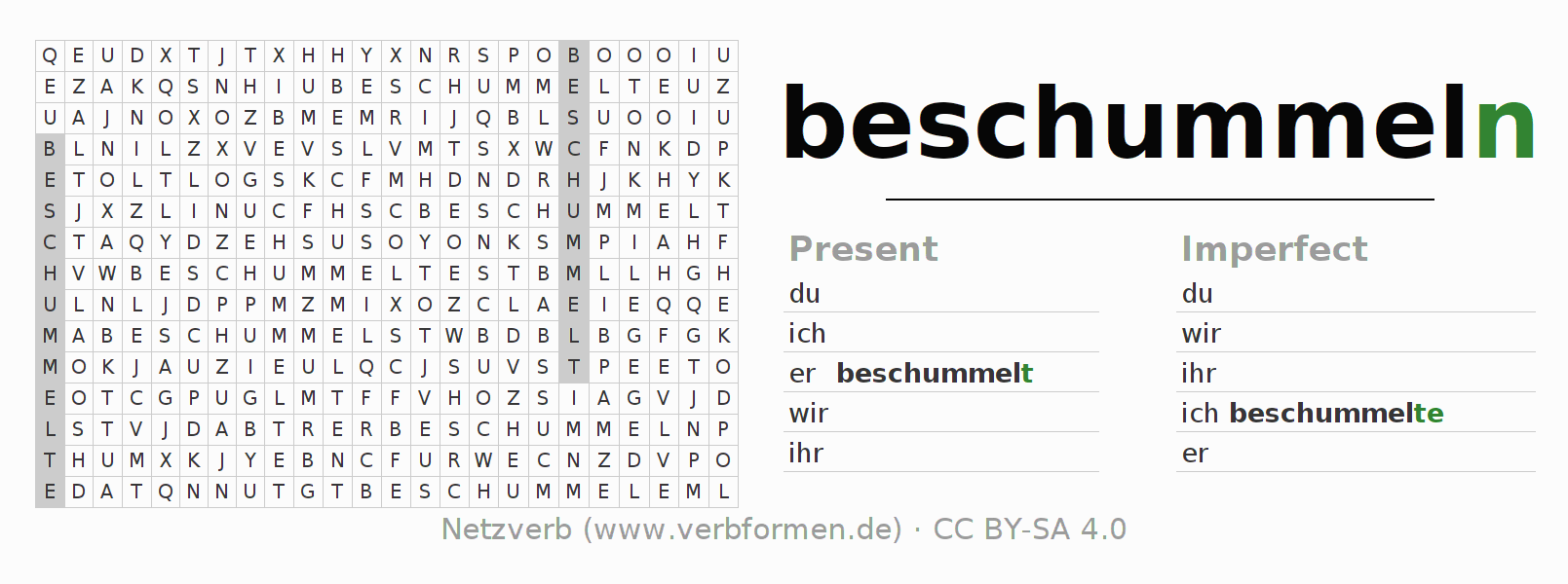 Word search puzzle for the conjugation of the verb beschummeln