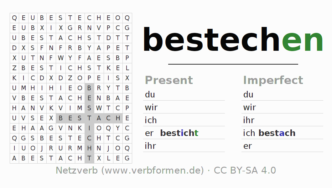Word search puzzle for the conjugation of the verb bestechen