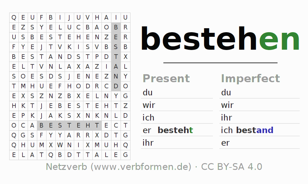 Word search puzzle for the conjugation of the verb bestehen