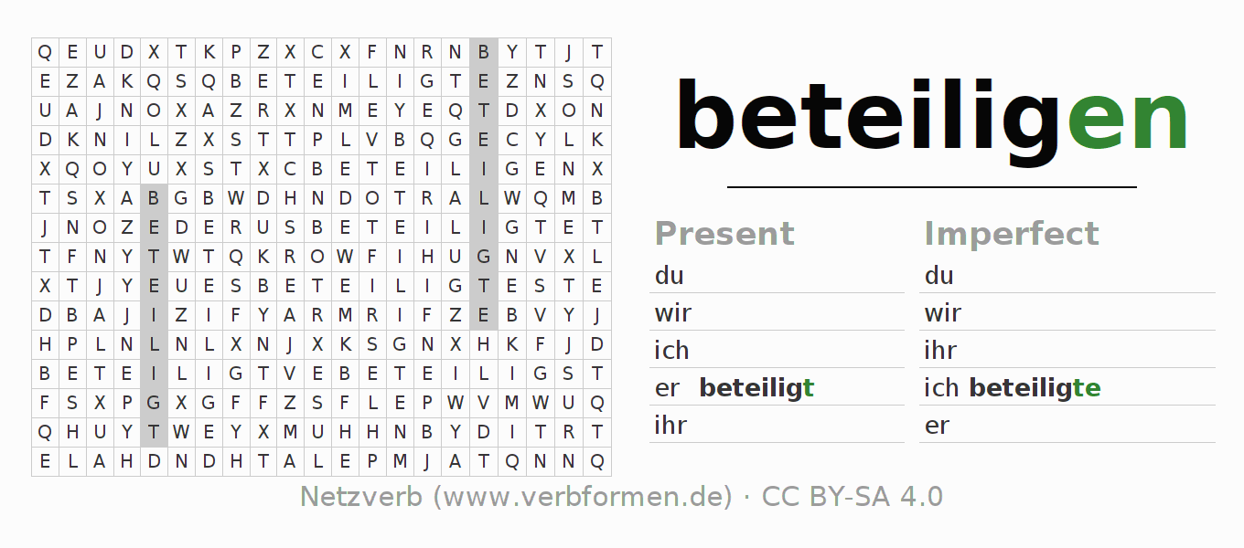 Word search puzzle for the conjugation of the verb beteiligen