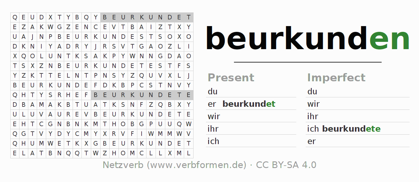 Word search puzzle for the conjugation of the verb beurkunden