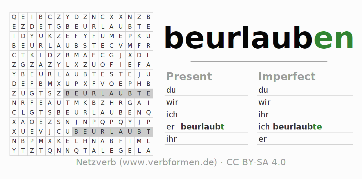 Word search puzzle for the conjugation of the verb beurlauben