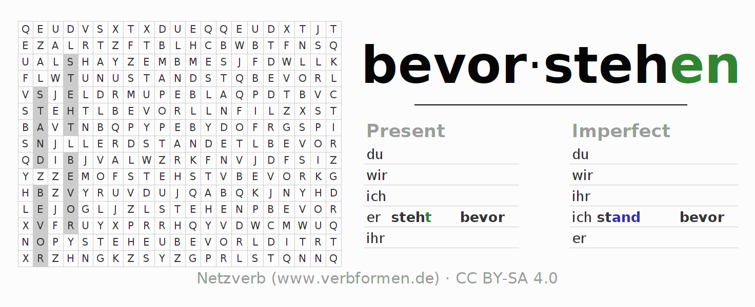 Word search puzzle for the conjugation of the verb bevorstehen (hat)