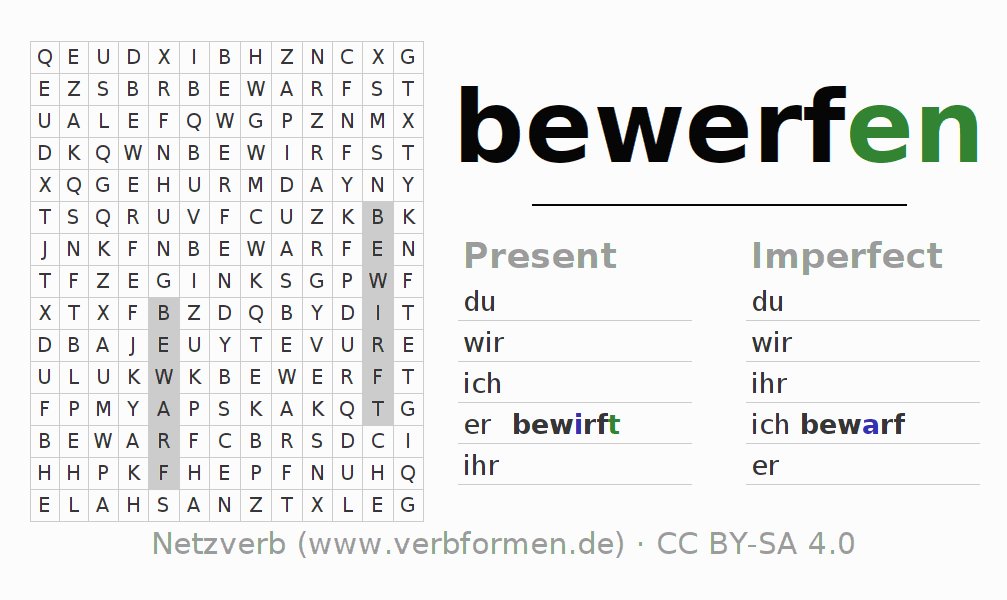 Word search puzzle for the conjugation of the verb bewerfen