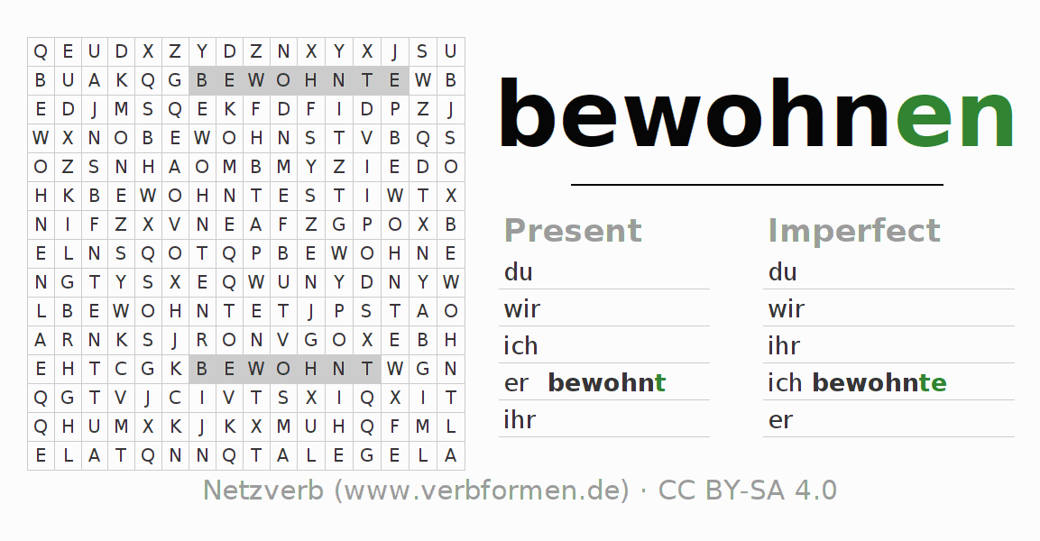 Word search puzzle for the conjugation of the verb bewohnen