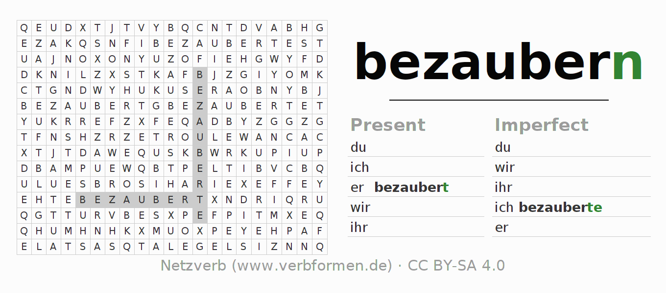 Word search puzzle for the conjugation of the verb bezaubern