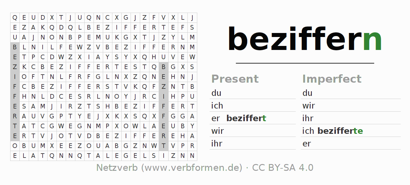 Word search puzzle for the conjugation of the verb beziffern