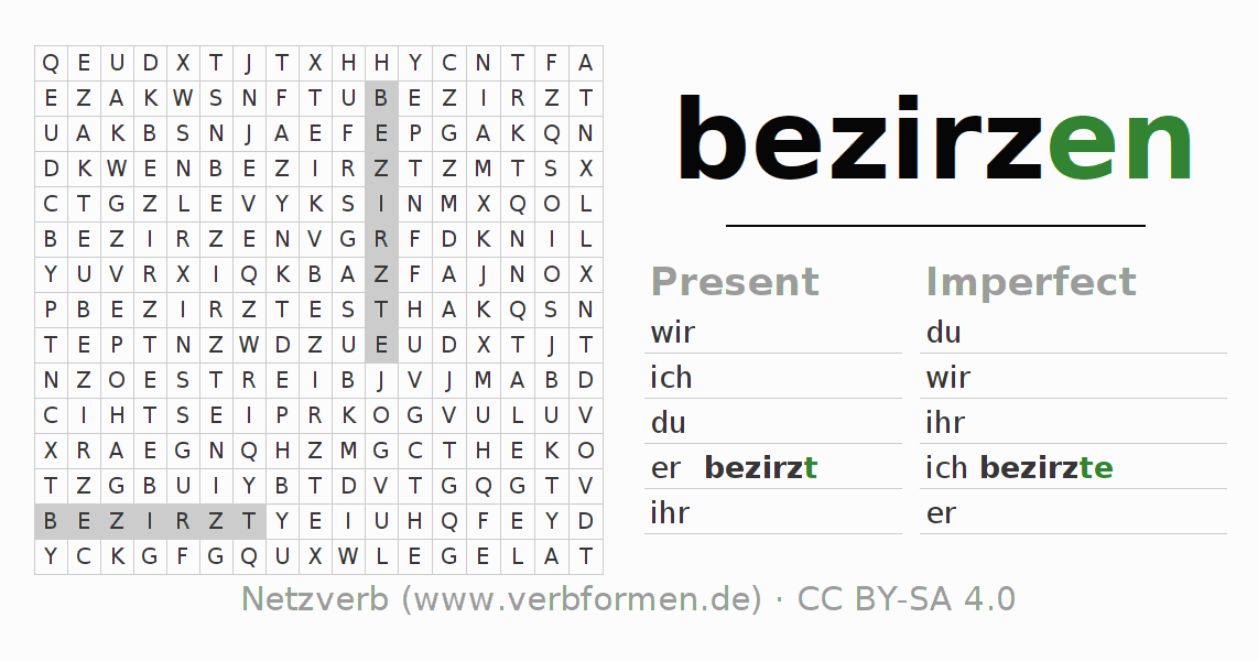 Word search puzzle for the conjugation of the verb bezirzen
