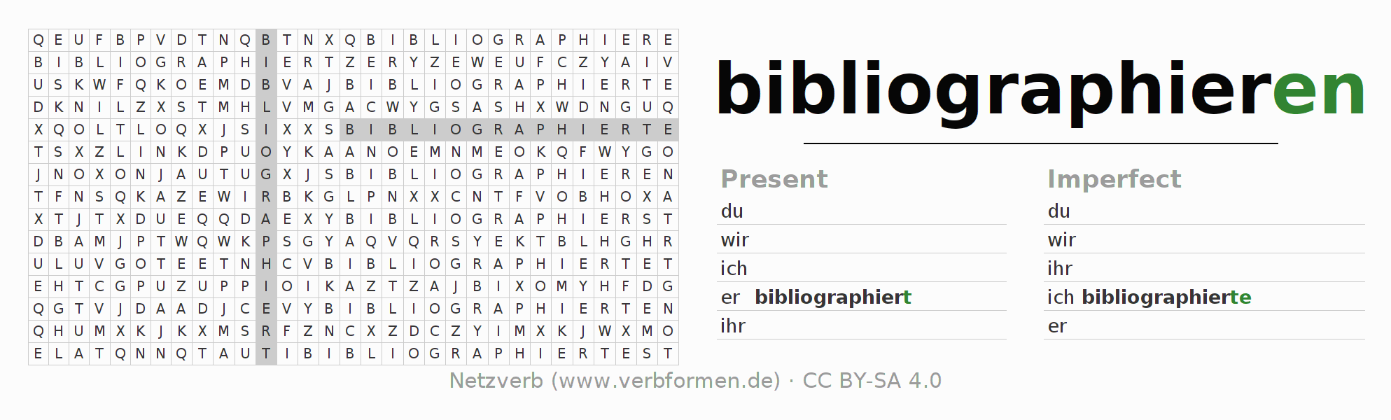 Word search puzzle for the conjugation of the verb bibliographieren