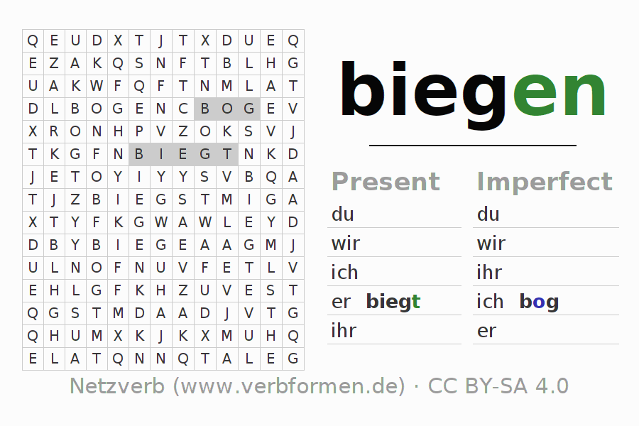 Word search puzzle for the conjugation of the verb biegen (hat)