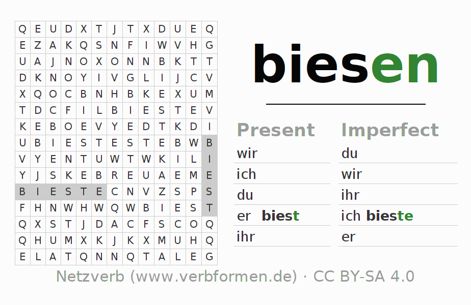 Word search puzzle for the conjugation of the verb biesen