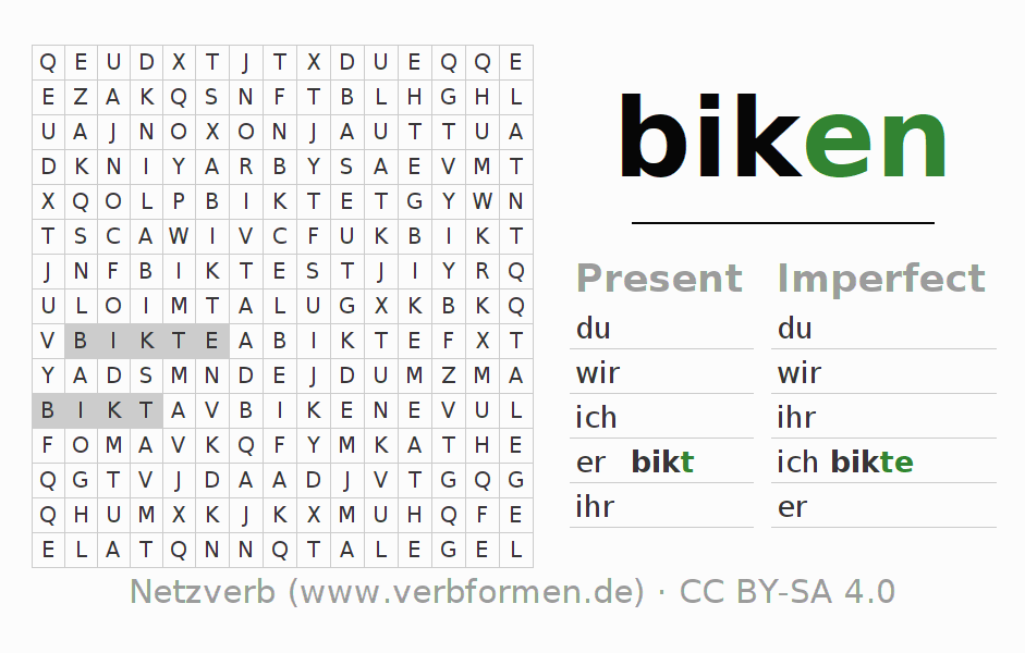 Word search puzzle for the conjugation of the verb biken