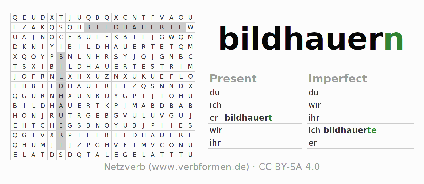 Word search puzzle for the conjugation of the verb bildhauern