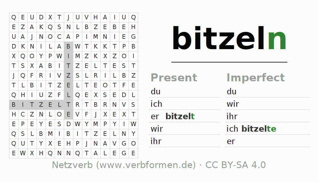 Word search puzzle for the conjugation of the verb bitzeln