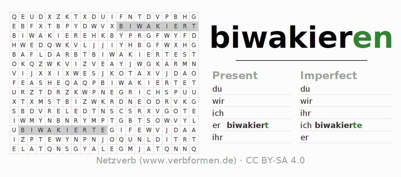 Word search puzzle for the conjugation of the verb biwakieren