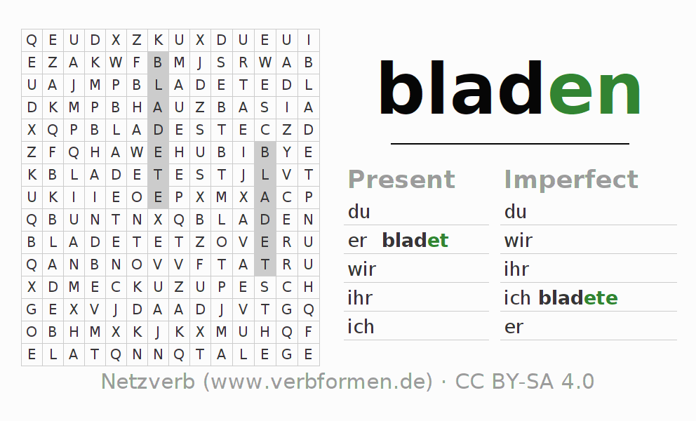 Word search puzzle for the conjugation of the verb bladen