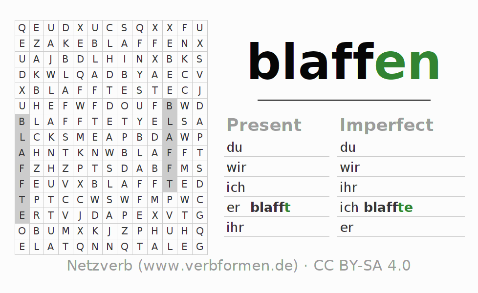 Word search puzzle for the conjugation of the verb blaffen