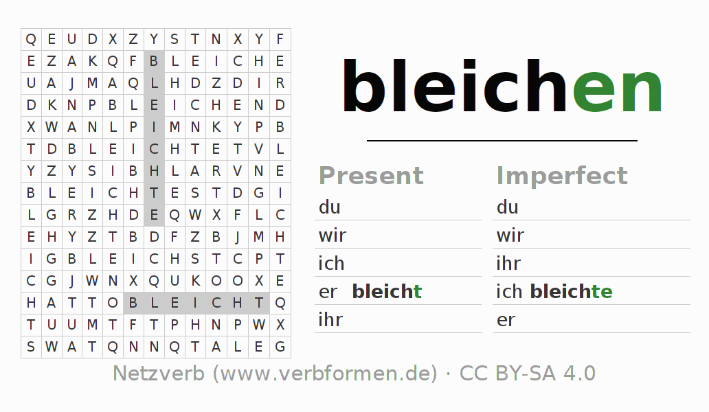 Word search puzzle for the conjugation of the verb bleichen (regelm)