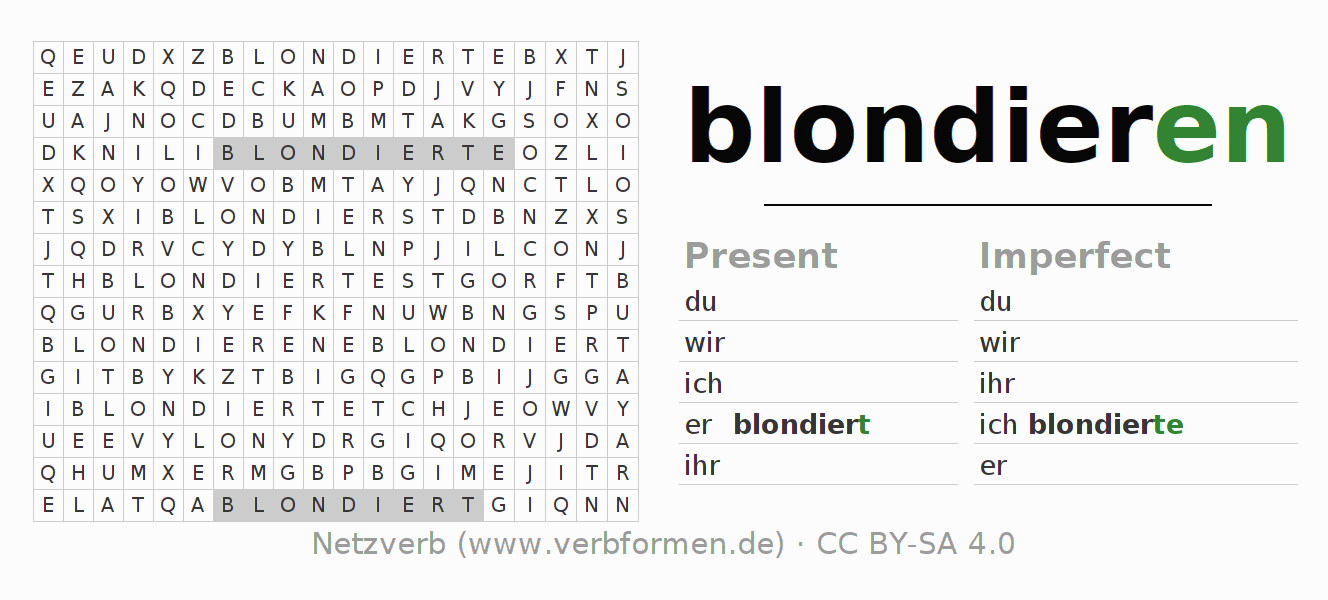 Word search puzzle for the conjugation of the verb blondieren
