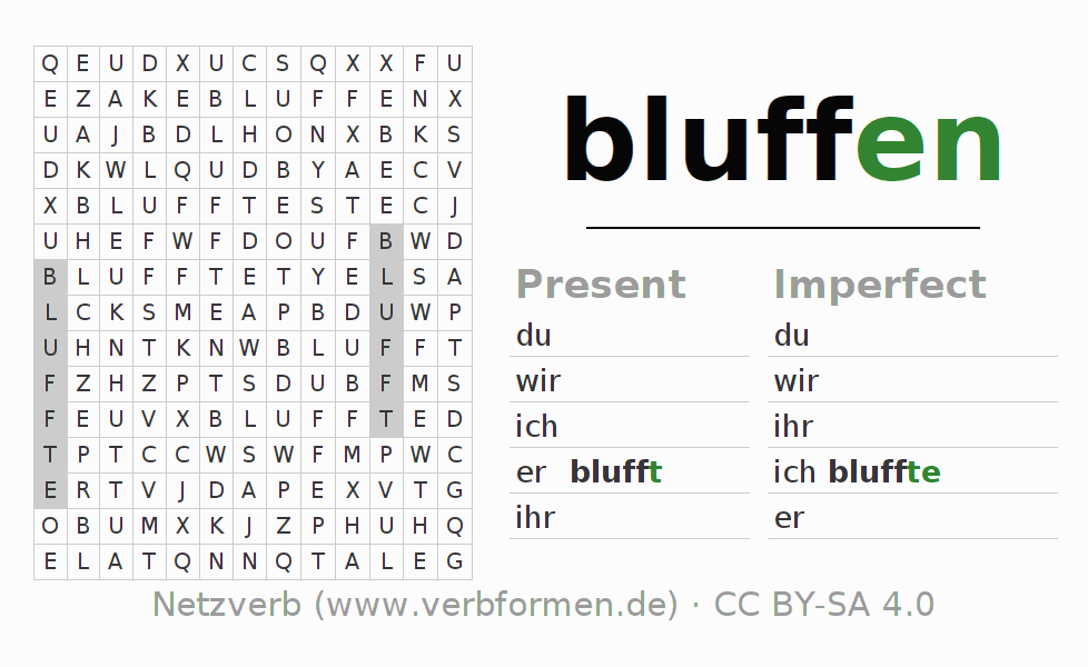 Word search puzzle for the conjugation of the verb bluffen